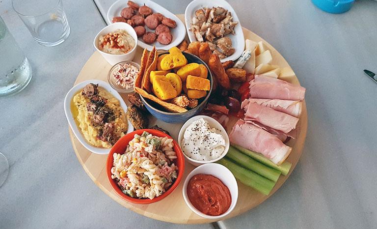 Tapas platter at Azul Kalymnos