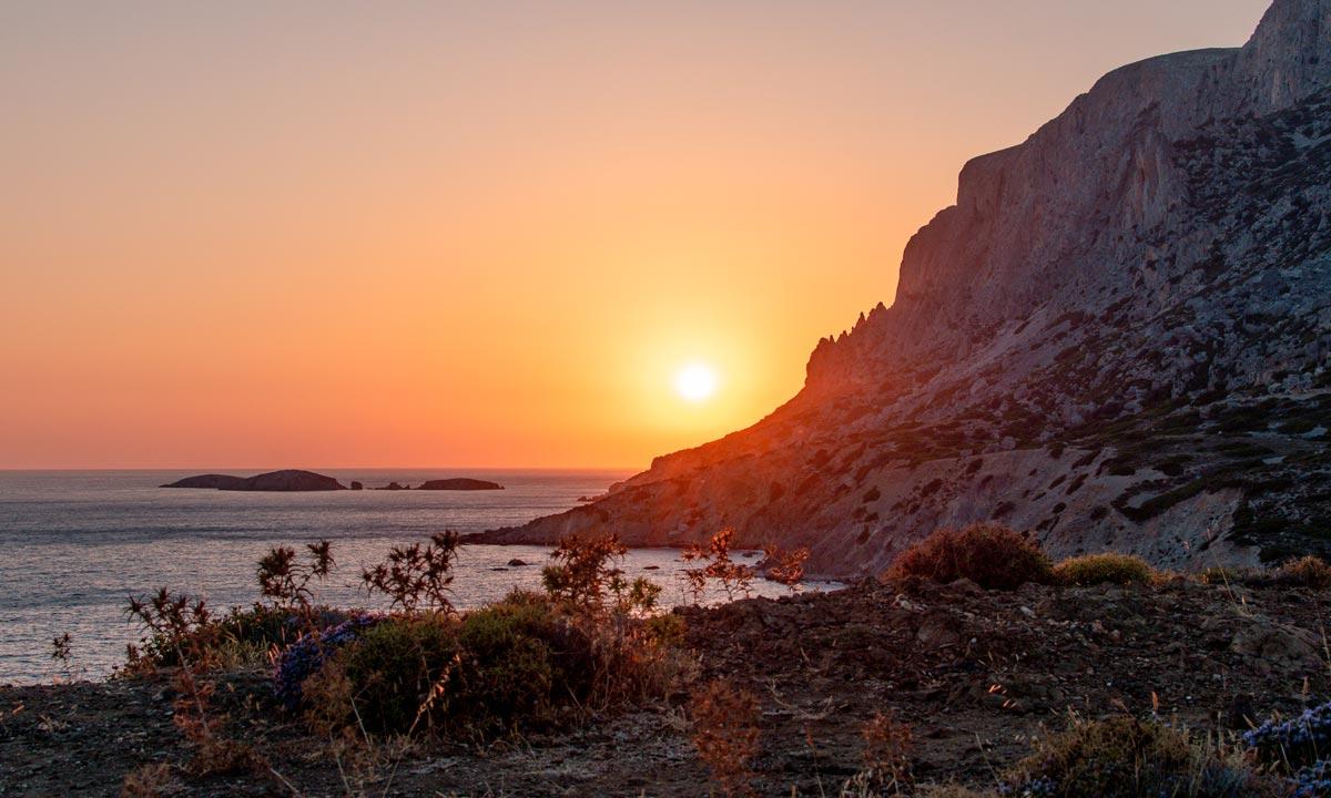 Fantastic sunset views in Telendos
