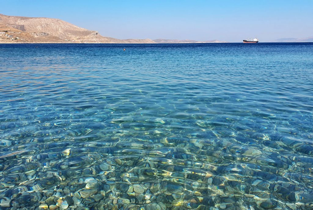 The water at Gefyra beach is so clear
