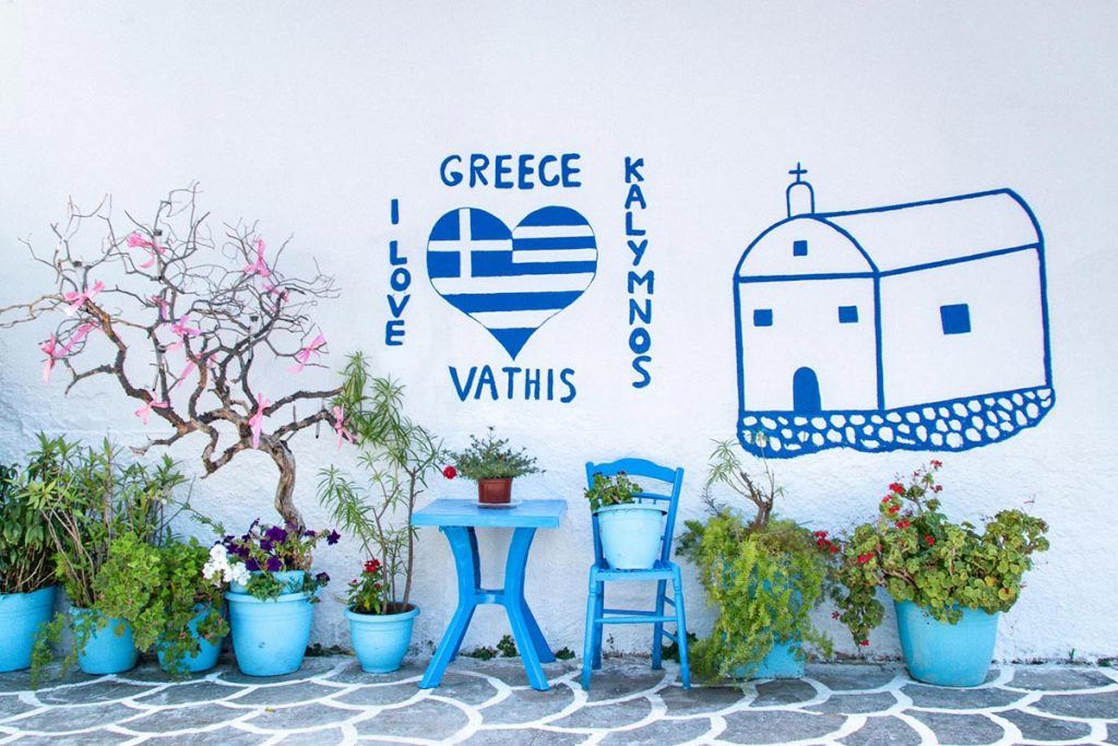 Mural painting of I love Vathis Kalymnos Greece