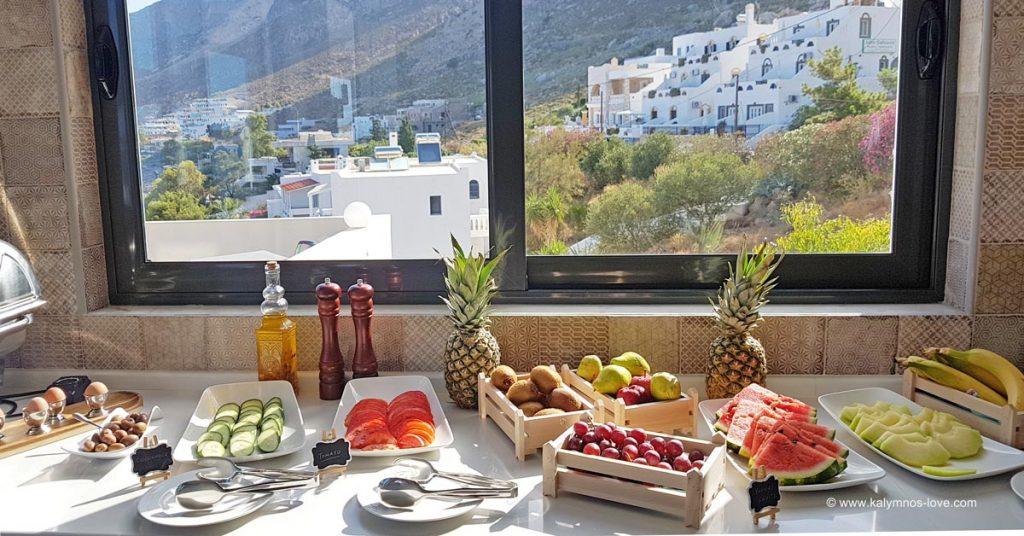 Breakfast buffet at Carian hotel.