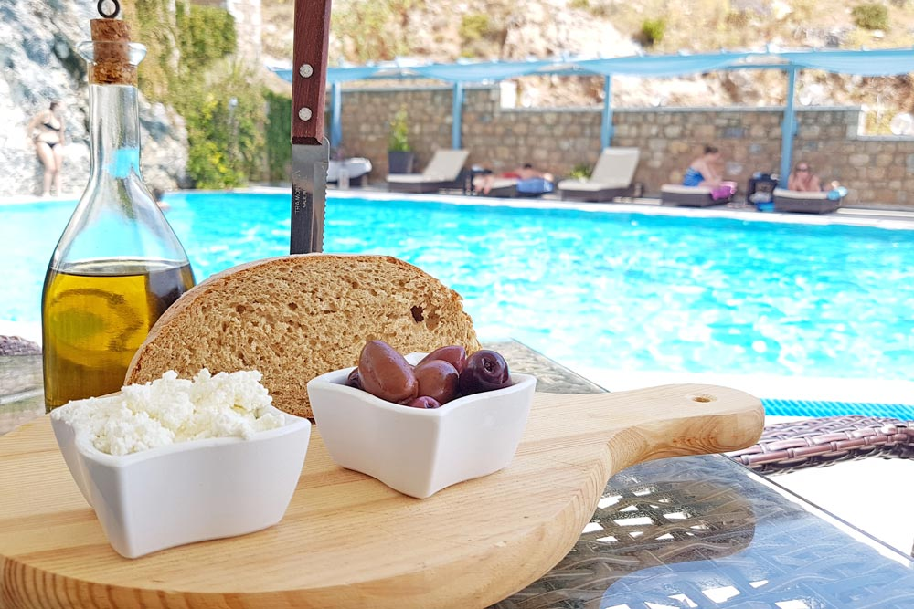 Food and snack bar by the pool at Elena Village