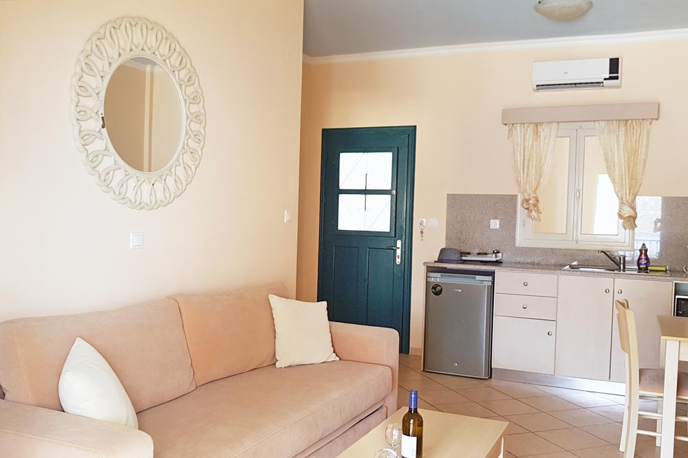 Kitchen and living room at Elena Village