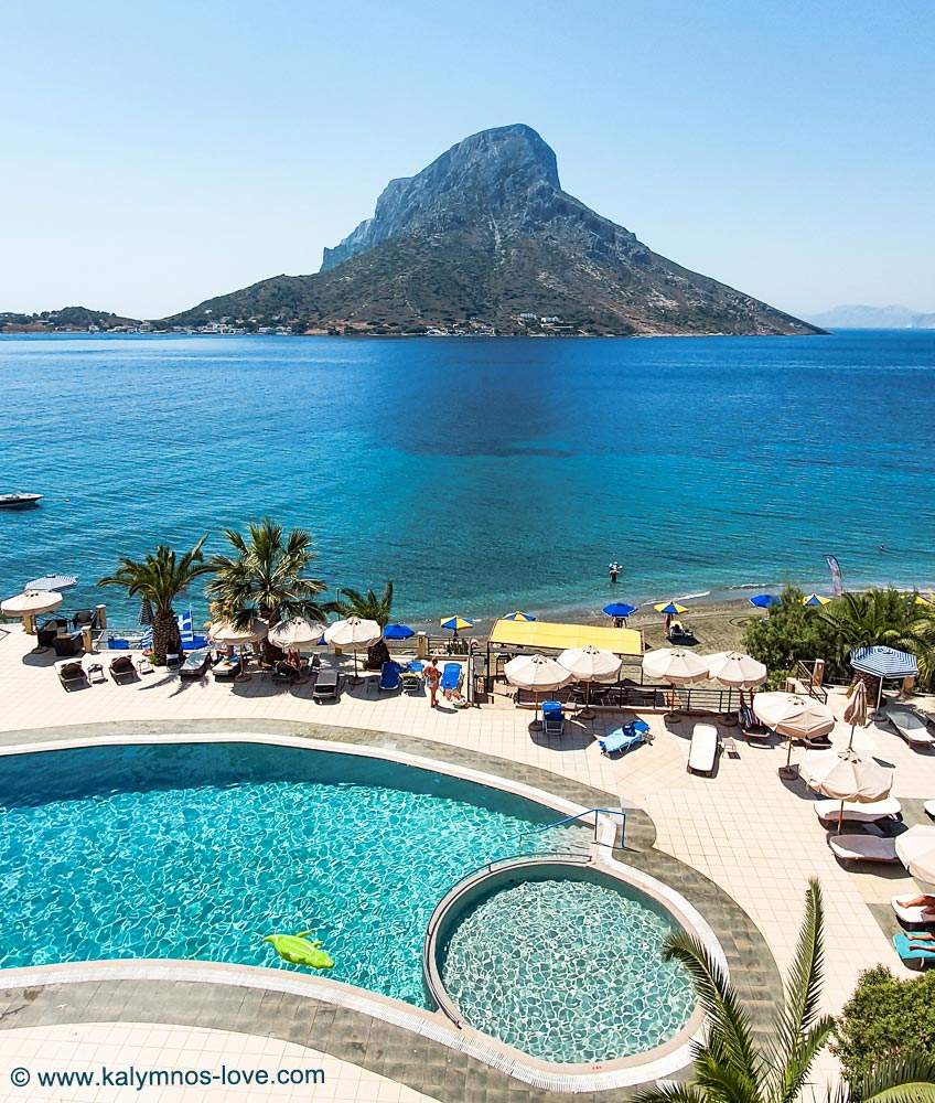 Plaza Hotel Kalymnos with swimming pool and view over Telendos and Massouri beach