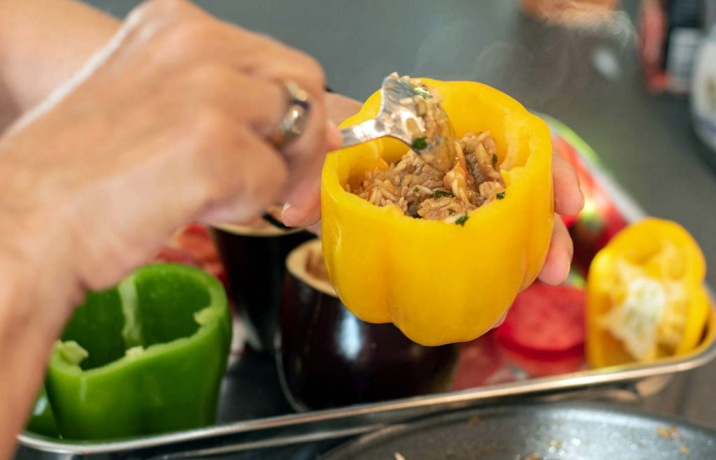 Filling the vegetables with the stuffing
