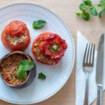 Vegan Greek stuffed peppers, tomatoes and eggplant