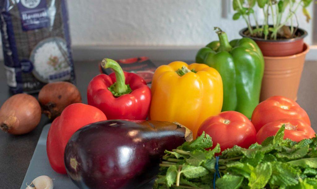 The ingredients for Yemista