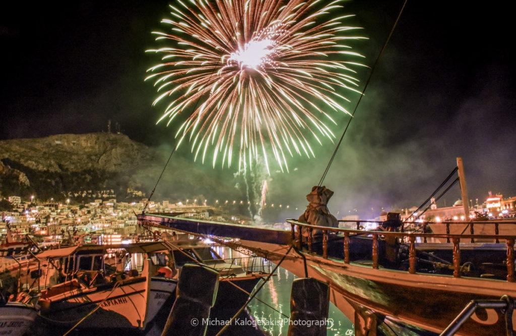 Fireworks above Pothia habor on Greek Easter Sunday