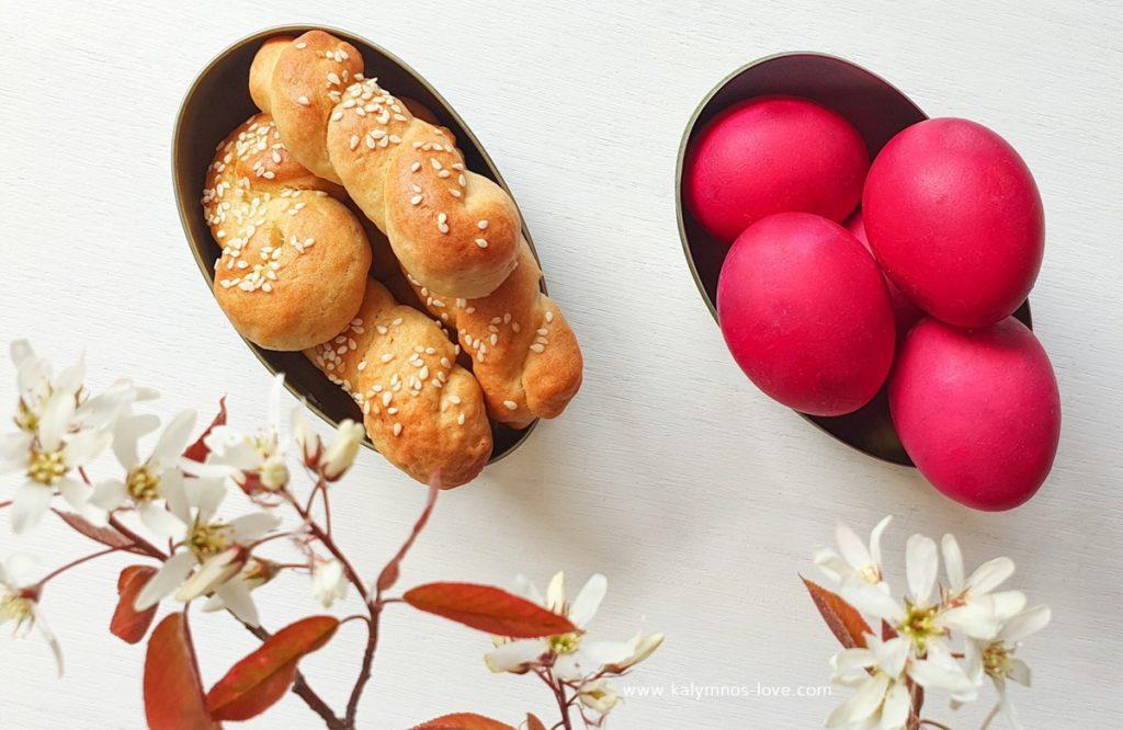 Koulourakia (Greek Easter cookies) and red eggs