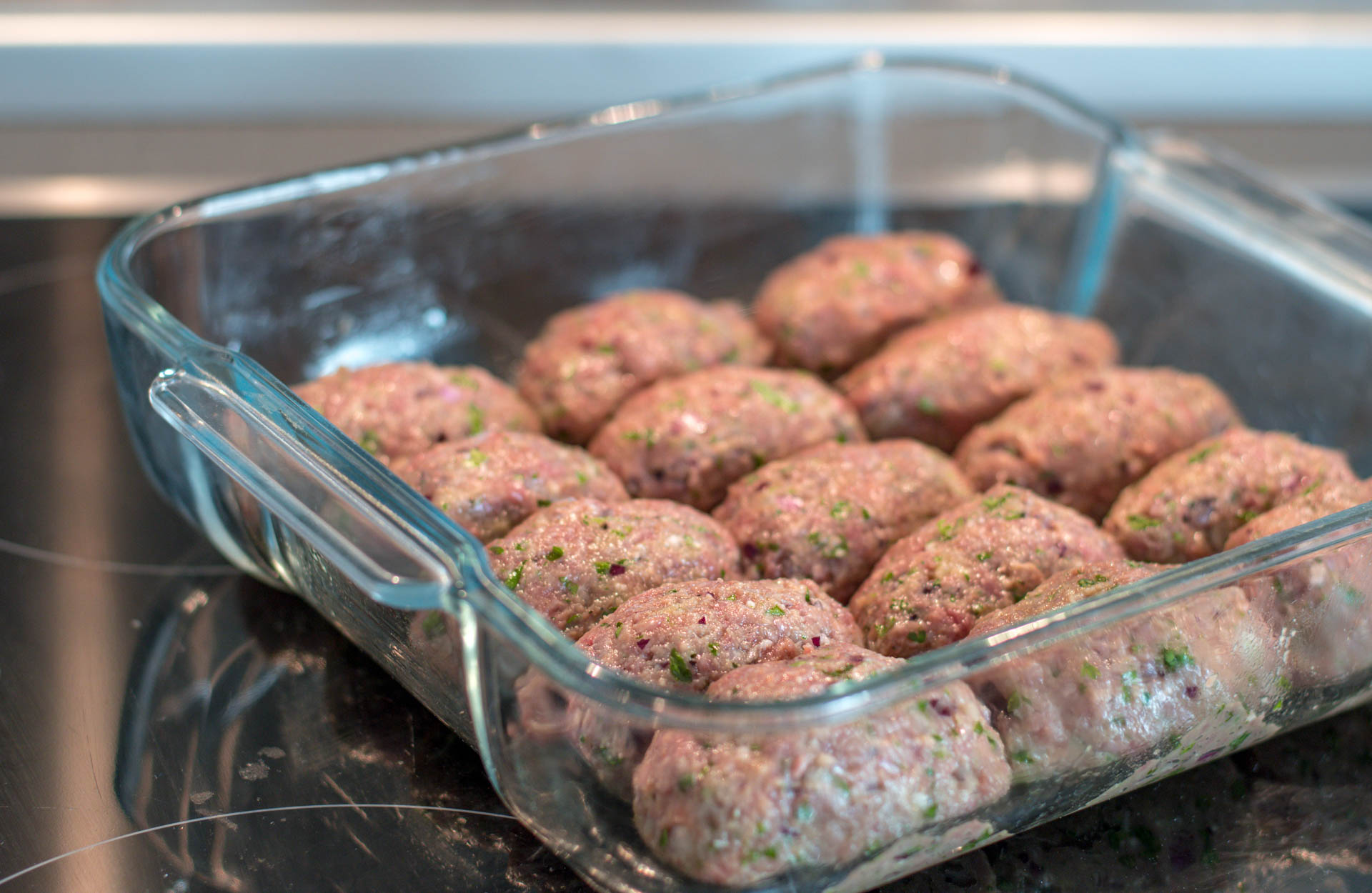 Shape the meatballs and put them in the oven